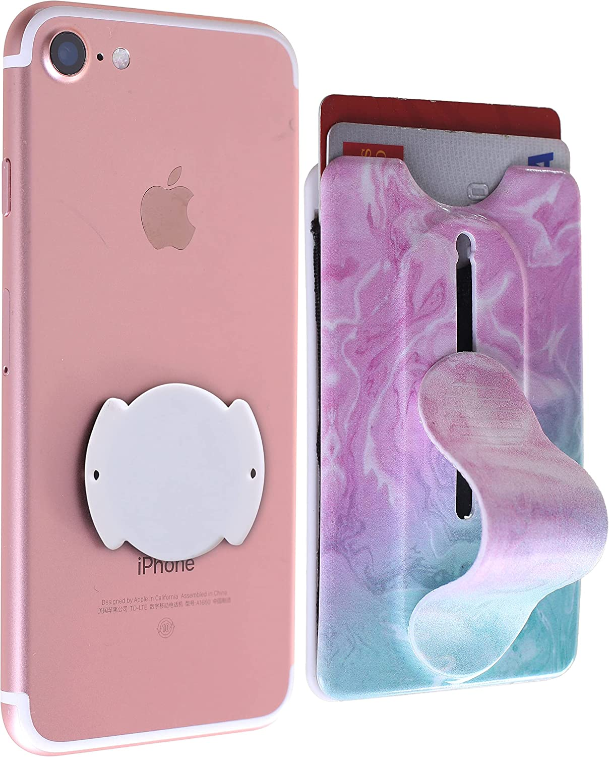 KickWallet Removable & Repositionable Wallet Credit Card Holder for Back of Phone Stick on Phone Wallet Card Holder for iPhone & Cell Phones (Marble Aurora)