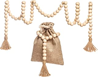 Wood Bead Garland with Jute Gift Bag - Farmhouse Decor Wooden Prayer Beads Christmas Tree Decoration Wall Hanging