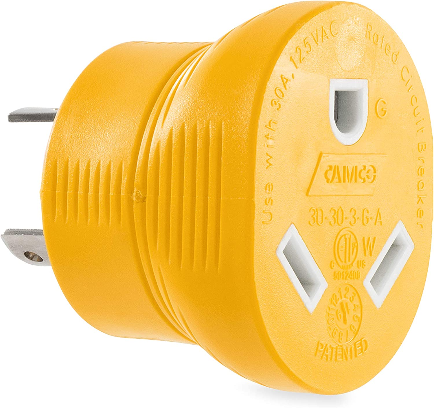 Camco Heavy Duty PowerGrip 30 Max 89% OFF Amp Adapter 3 Baltimore Mall Prong for Generator
