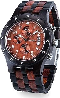 Bewell Luxury Wood Watchブラックとレッドストップウォッチwith Luminousポインタと日付表示母の日ギフトw109d