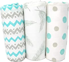 Muslin Swaddle Blankets | 100% Cotton Baby Blanket | Super Soft | Beautiful Premium Gift Box Set | 47 x 47 inches | 3 pack | Feathers, Chevron & Polka Dots | Gender Neutral Unisex