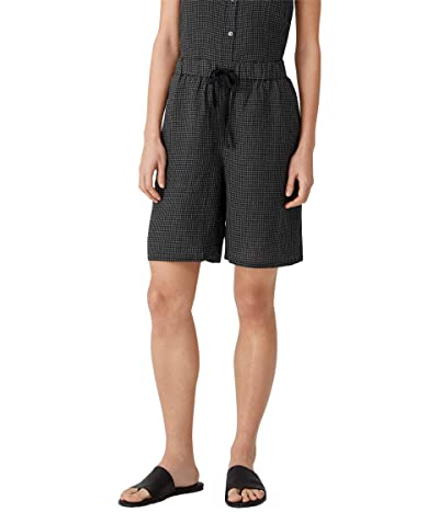 Eileen Fisher Midthigh Shorts with Drawstring in Puckered Organic Linen