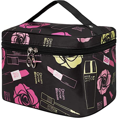 Shaui&Rulyn Women Portable Cosmetic Bag Cute Makeup Travel Case Multifunctional Make up Bag,Toiletry Bag Travel Bags for Women Girls (Cosmetics Black)