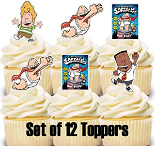 12 Cupcake Toppers Captain Underpants