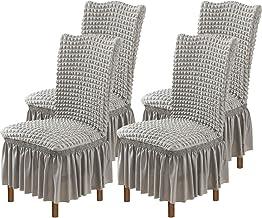 O'woda 4 STKS Stretch stoelhoezen met lange rok, wasbaar polyester en spandex, anti-vuil en krassen eetkamerstoel Slipcove...