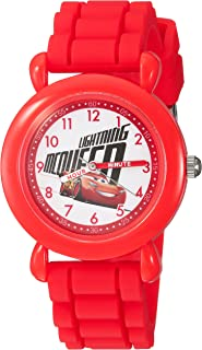 DISNEY Boys Cars 3 Analog-Quartz Watch with Silicone Strap, red, 16 (Model: WDS000302)