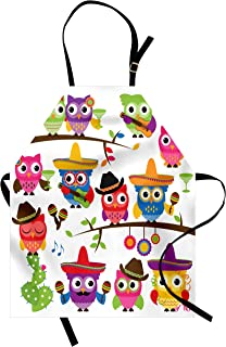 Lunarable Owls Apron, Group of Cowboy Cowgirl Owls with Hats Guitars Cactus Cinco de Mayo Themed Art, Unisex Kitchen Bib with Adjustable Neck for Cooking Gardening, Adult Size, Orange Red