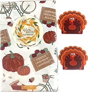 Elrene Fall Harvest Flannel Vinyl Tablecloth: Colorful Farm Fresh Watercolor Pumpkins Gourds Sunflowers on Distress White ...