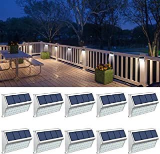Solar Deck Lights, 10 Pack Solar Lights Outdoor Waterproof Fence Lights with 30 LED Backyard Lights for Walkway Stairs Coo...