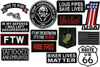 FTW Live to Ride #1 American US Flag Skull Pow Mia Harley Club   Small Motorcycle Patches 15pc. Set - by Nixon Thread Co.