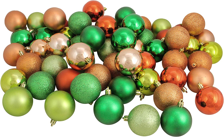 Northlight おトク 60ct Green and Christmas 3-Finish 迅速な対応で商品をお届け致します Orange Shatterproof