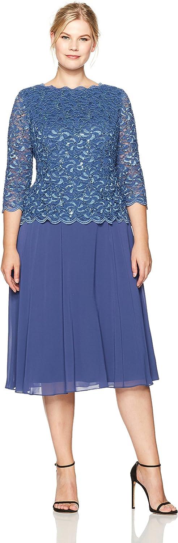 Alex Evenings Womens PlusSize TLength Lace Mock Dress Special Occasion Dress