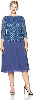 Women's Plus Size Tea-Length Lace Mock Dress