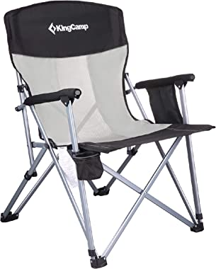 KingCamp Camping Chair Hard Arm Folding Camp Chair High Back Ergonom Outdoor Sports Chair for Adults with Cup Holder, Pocket,
