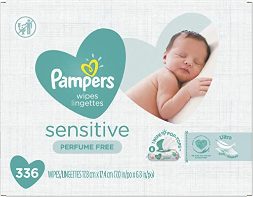 Baby Wipes, Pampers Sensitive Water Based Baby Diaper Wipes, Hypoallergenic and Unscented, 6 Pop-Top Packs, 336 Total...