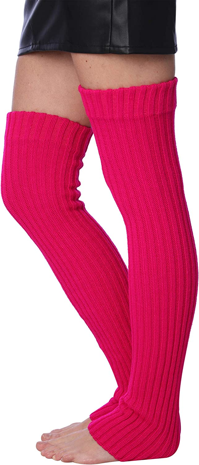 Isadora Paccini 80s Women's Extra Long Ribbed Knit Leg Warmers,