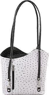 Bolsa de hombro de mujer Patrón de avestruz en cuero genuino Made in Italy 28x30x9 Cm