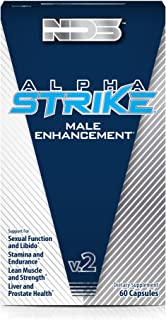 NDS Nutrition Alpha Strike - Testosterone Boosting Formula to Maximize Stamina, Endurance, Sexual Function, Libido, Overall Health - Increase Lean Muscle and Strength - 60 Capsules
