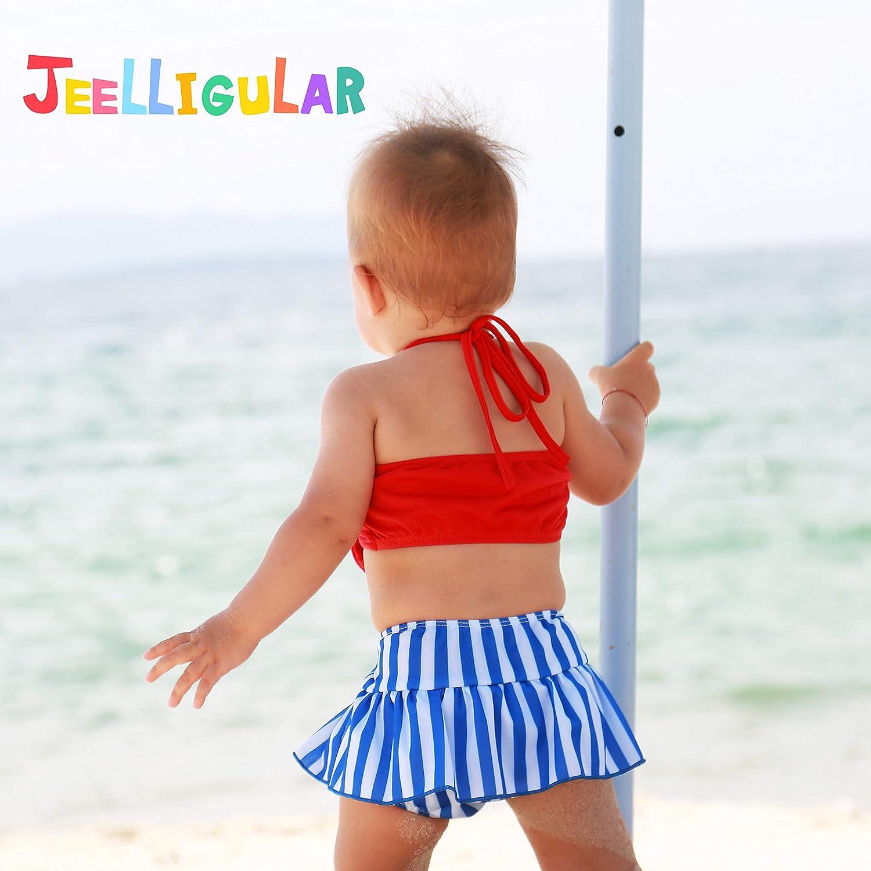JEELLIGULAR Toddler Baby Girl Swimwear Bowknot Stripe Swimsuit Bathing Suit 2Pcs Bikini Set Outfits Summer