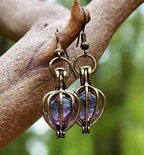Recycled Antique Purple Medicine Bottle Brass Drop Earrings