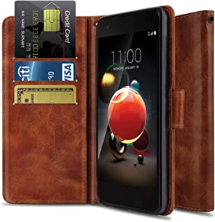 Wallet Case for LG Aristo 2 X210/LG Rebel 3 LTE L158VL/LG Rebel 4 4G LTE/LG Tribute Dynasty/LG K8+ 2018/ LG Phoenix 4, OTOONE [Flip Folio] PU Leather Protective Phone Cover with Kickstand (Bronze)