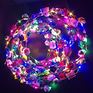 12 Pack Glowing Wreath LED Flower Crown, LED Light Up Floral Garland Wreath Headdress for Girls and Women Hair Accessorie...