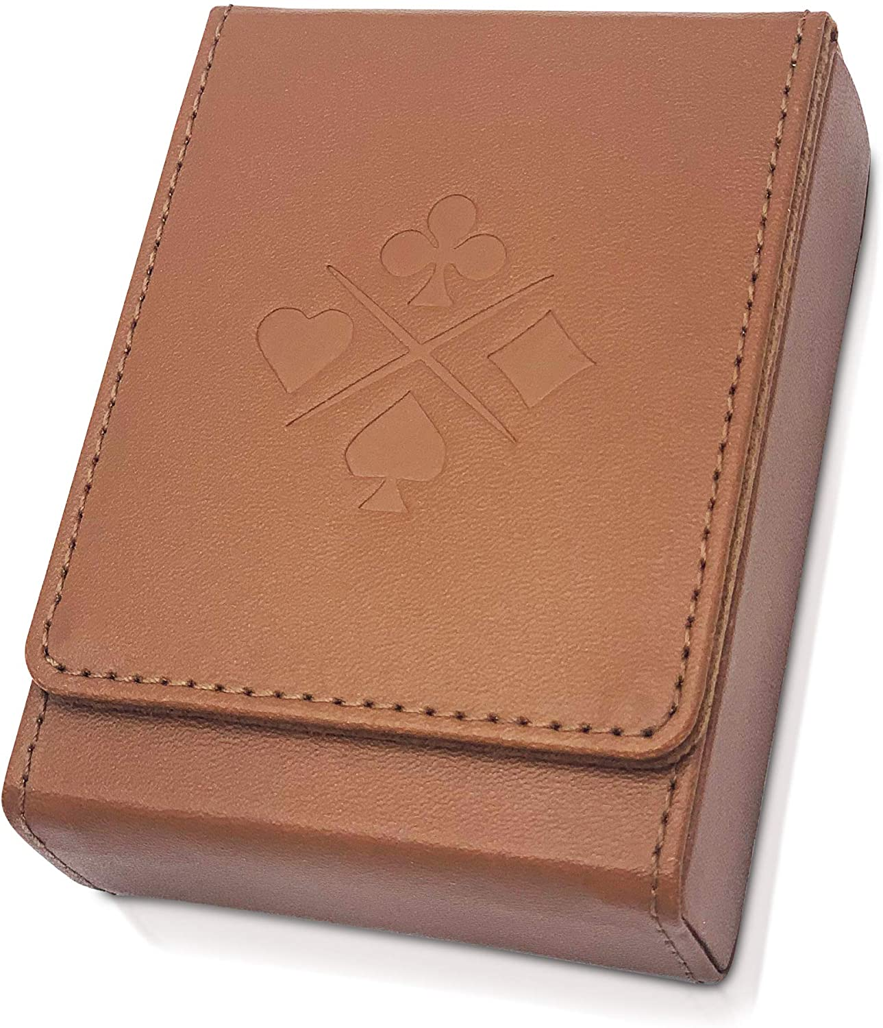 Luck Lab Single Deck Leather Playing Card Case/Holder - Brown - Fits Poker and Bridge Size Cards