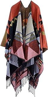 PJPPJH Chal Mujer Bohemia Wrap Tassel Cape con patrón geométrico Cardigans de Gran tamaño Cardigans