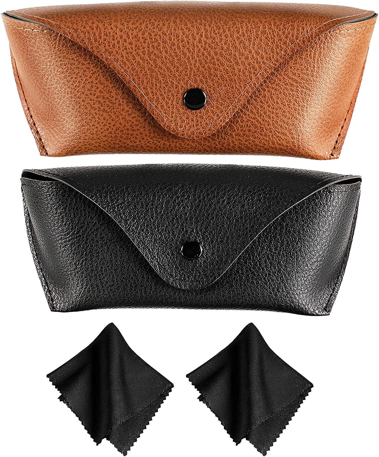 2 Pieces Faux Leather Eyeglasses Cases Portable PU Leather Glasses Cases Soft Sunglasses Pouch Cases with 2 Pieces Glasses Cleaning Cloths for Women Men