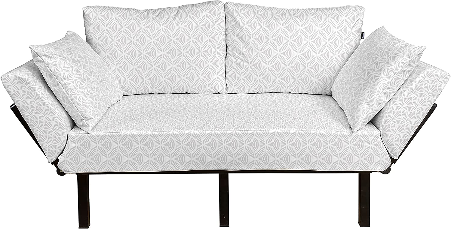 Ambesonne Grey and White Los Angeles Mall Weekly update Futon Couch R with Half Circle Vintage