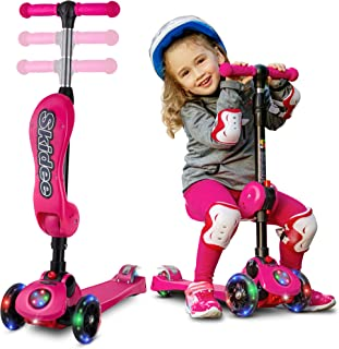 2-in-1 Scooter for Kids with Folding Removable Seat Zero Assembling – Adjustable Height Kick Scooter for Toddlers Girls & Boys – Fun Outdoor Toys for Kids Fitness 3 PU Flashing Wheels Extra Wide Deck