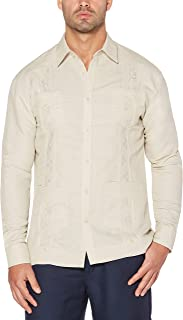 Men's Long Sleeve Embroidered Guayabera Shirt