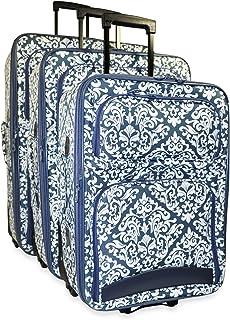 Ever Moda Cross Print 3-Piece Luggage Set