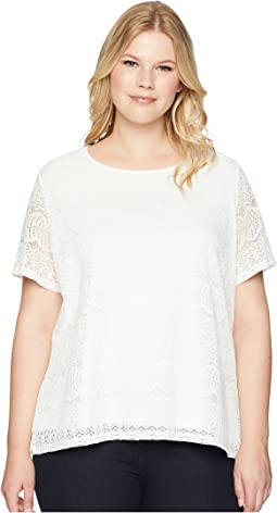 Plus Size Short Sleeve Lace Top
