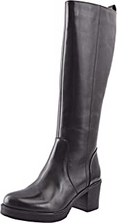 Allonsi Luna Women's Genuine Leather Block Heel Knee High Boots with Mid-Heel, TPR Sole and Zip Closure