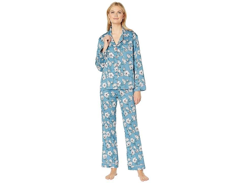 BedHead Pajamas Long Sleeve Classic Notch Collar Pajama Set (Peonies) Women
