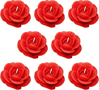 Shraddha Creation Floating Rose Decorative Smokeless Candle, Red Color with Rose Fragrance (Set of 8)