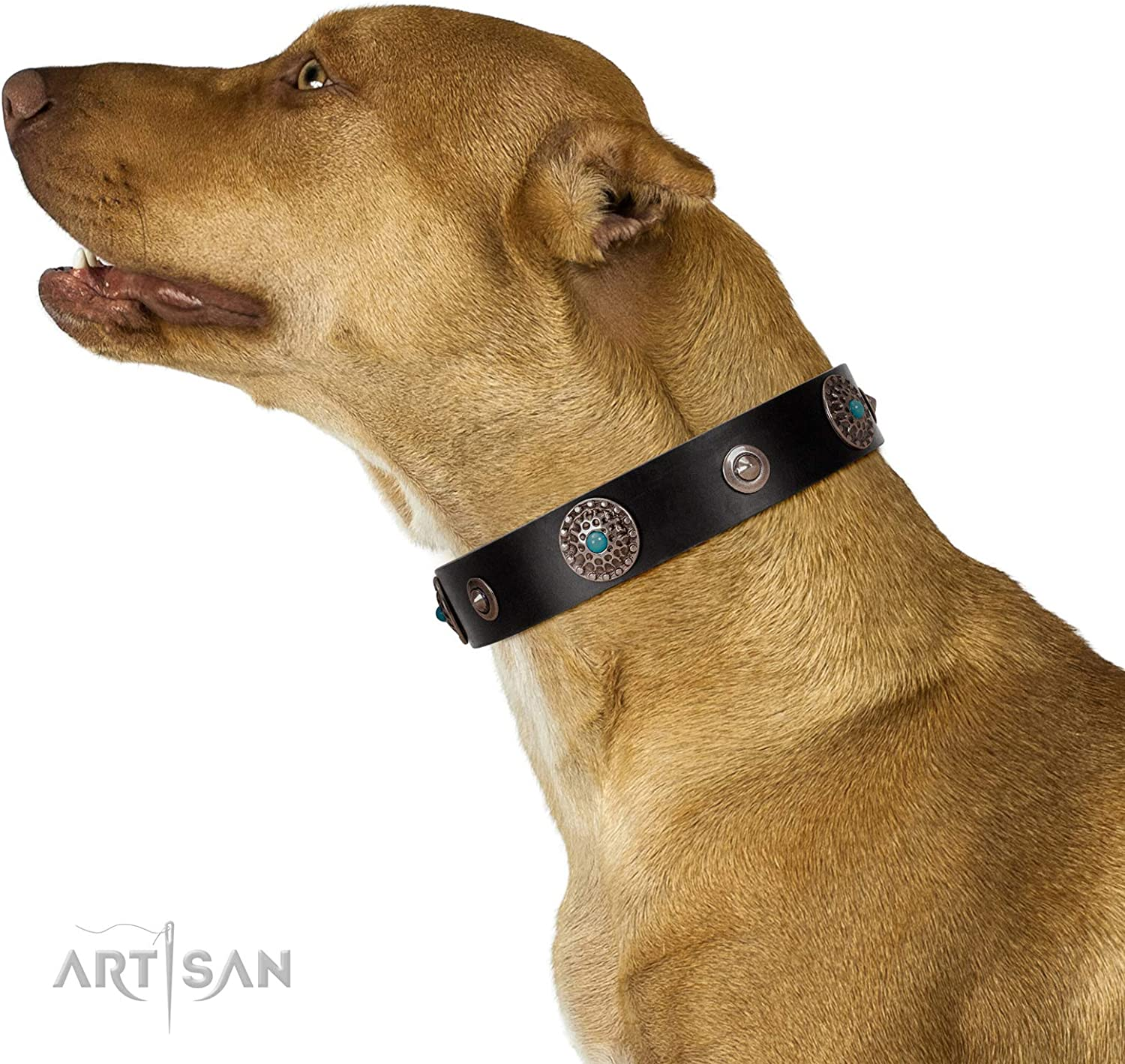 FDT Artisan 16 inch Black Leather Dog Collar with ChromePlated Studs and Medallions  bluee Gems  1 1 2 inch (40 mm)  with Gift Packaging