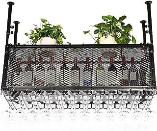 XHCP Organisation de Rangement de Cuisine Supports à vin de Plafond de Style Vintage |Porte-gobelet Porte-Bouteilles de v...