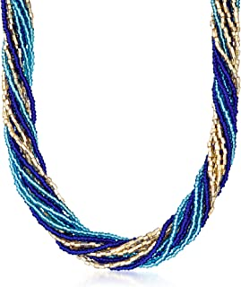 Italian Blue and Golden Murano Glass Bead Torsade Necklace With 18kt Gold Over Sterling. 18 inches