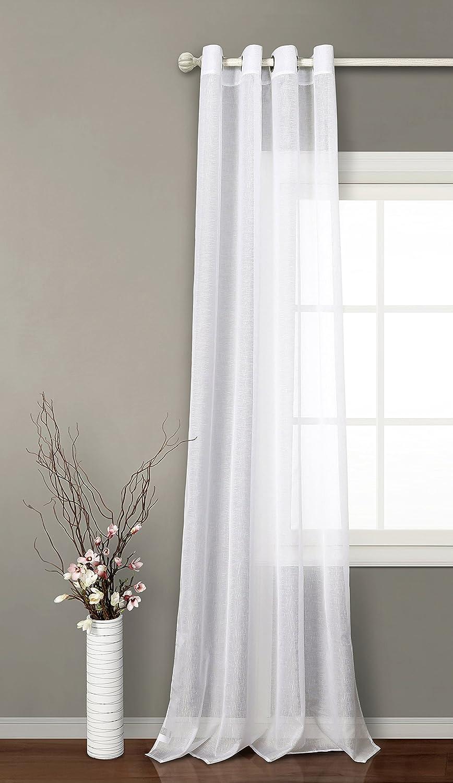 PimPan Tex Cortina translucida con 8 ollao (1 Unidad X 140x260) para salón, habitación y Dormitorio. Modelo Clara. (Blanca)