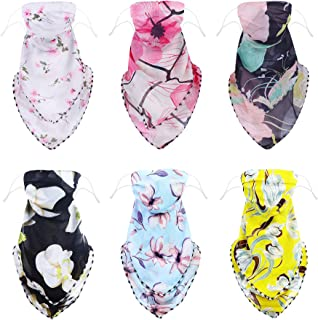 Hanpabum 6Pcs Sunscreen Face Cover for Women Chiffon Neck Scarf UV Protection Bandanas Sports Breathable Bandana for Outdoors, Cycling, Hiking, Camping
