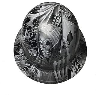 Hard Hat Ridgeline Full Brim Custom White Ace Of Skulls Satin