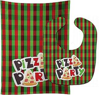 Caroline's Treasures Baby Bib & Burp Cloth, Pizza Party, Large