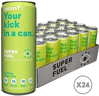 Eboost Natural Nootropic Vitamin Keto Super Fuel Energy Drink 12 Fl oz (24 Pack) (Ginger Lime)