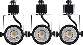 Cloudy Bay 8W dimmable LED Track Light Head,CRI 90+ Day Light 5000K,Adjustable Tilt Angle Track Lighting Fixture,40° Angle for Accent Retail,Black Finish Halo Type - 3 Pack
