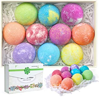 habibee 10 Pack Bath Bombs 2.5oz with Plant Essential Oil and Sea Salt Handmade Bath Bomb for Dry Skin Moisturize & Fizzie...