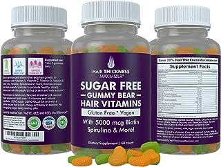 Sugar Free Hair Gummy Bear Vitamins by Hair Thickness Maximizer with Biotin 5000 mcg. Vegan, Gluten Free, Chewy Natural Ha...