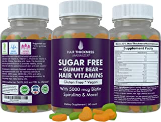 Sugar Free Hair Gummy Bear Vitamins by Hair Thickness Maximizer with Biotin 5000 mcg. Vegan, Gluten Free, Chewy Natural Hair Vitamin Gummies for Men and Women. Great for Hair Growth, Skin and Nails