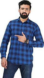 Color Play Men's Pure Cotton Slim Fit Twill Checks Casual Full Sleeves Shirt